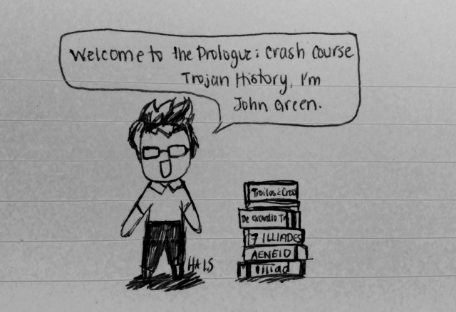 """I know the Speaker of the Prologue was supposed to be in armour, but this was way cooler and I will not apologize.  (Green, John. """"CrashCourse."""" YouTube. YouTube, n.d. Web. 10 Mar. 2015.)"""
