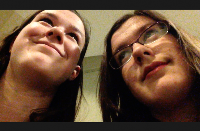Neither of us are impressed with the announcements that keep interrupting our filming.