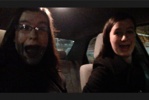 Our initial in-car reaction.  We're both a little tired and freaked out by this point.