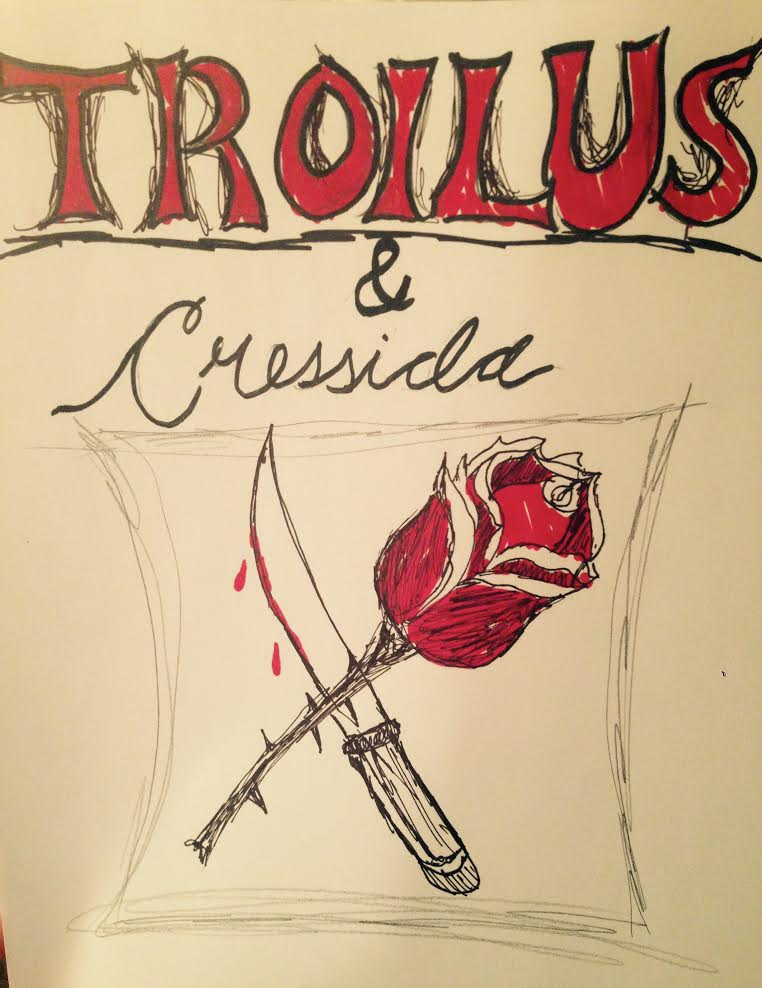My theatrical poster for Troilus and Cressida, in keeping with both the play's tragic genre and the two main plots (the romance and the war).